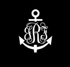 "Personalized 5"" Vinyl Car Decal - Anchor - Initials Car Decal in Interlacing Monogram"