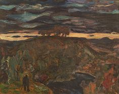 Frederick Varley - Sunset 12 x 15 Oil on board Group Of Seven, Oil, Sunset, Board, Painting, Painting Art, Paintings, Sunsets, Painted Canvas