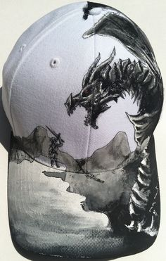 Skyrim Theme Cap Dragon vs Dovahkiin by AGamersPaintbrush on Etsy, $65.00