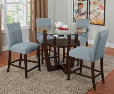 Daly II Aqua Dining Room Collection | Furniture.com-Counter-Height Table $209.99