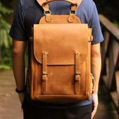 Backpacking Handmade Leather Backpack Travel Backpack Laptop Backpack 0418 - Unihandmade