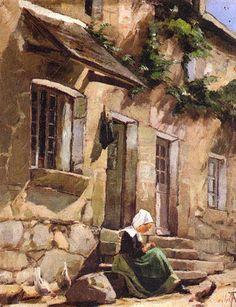 """Ada Thilen,  """" Breton Girl on the Steps of her House, 1884"""