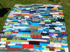 Vintage Reversible Multi-Color Scrap Quilt from Favorite Old Clothing / Back is Olive Green and Aqua from the 1960s $94