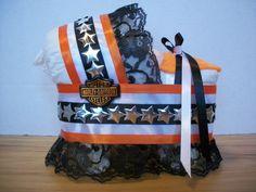 Harley Davidson boy girl neutral diaper bassinet baby shower gift table decoration centerpiece via Etsy
