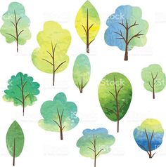 set of different trees by watercolor royalty-free stock vector art