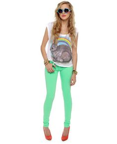 Ignore the hideous shirt... just oredered these mint jeans!! Love the vibrant color!
