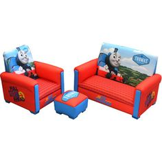 Hit Entertainment Thomas & Friends Full Steam Ahead Toddler 3-Piece Sofa, Chair and Ottoman Set