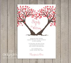 Modern Twin Heart Trees Wedding Invitation Printable DIY Summer Spring Wedding. $20.00, via Etsy.