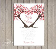 Modern Twin Heart Trees Wedding Invitation Printable DIY Summer Spring Wedding. $20.00, via Etsy.