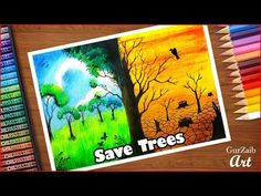 How to draw save trees poster chart drawing for competition (very easy) step by step Save Environment Poster Drawing, Save Environment Posters, Save Tree Save Earth, Save Water Poster Drawing, Save Earth Posters, Save Earth Drawing, Environmental Posters, Environmental Pollution, Nature