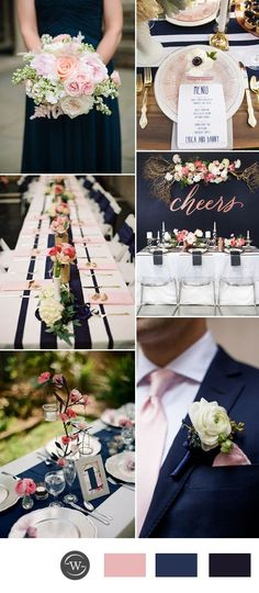 pink and navy blue wedding color inspiration