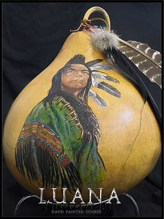 Medicine Man Hand Painted Gourd by Luana by LuanasPaintedGourds, $500.00