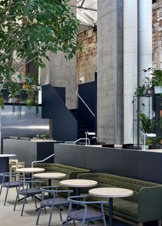 We give you an exclusive first look at a brand new cafe/ restaurant set to become another hospitality smash-hit - Higher Ground Melbourne. Concrete Forms, Concrete Slab, Kitchen Exhaust, News Cafe, Higher Ground, Furniture Showroom, Brick Building, Hotel Lobby, Cafe Restaurant