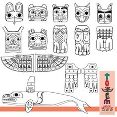 Totem Pole Clip Art Set (of the Pacific Northwest) by Christine O'Brien Creative Native American Totem Poles, Native American History, American Symbols, American Indians, Arte Haida, Haida Art, Totem Pole Tattoo, Totem Pole Drawing, Totem Pole Craft