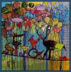 Elke Trittel acrylic,collage on board 25x25cm