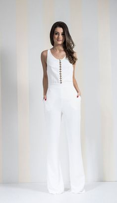 White Wide Leg Spaghetti Strap High Neck Halter Jumpsuit