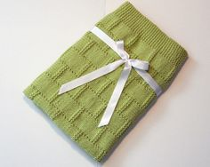 Knit Baby Blanket/ Afghan in Green, Knitted in Brick/ Basket Weave Deisgn,  Baby Shower Gift, Mothers Day Gift, Knit Lap Blanket/ Afghan by CustomBearHugs on Etsy