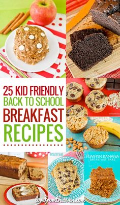 Kid Friendly Easy Breakfast Recipes For Back To School.  Muffins, breads, pancakes and breakfast cookies that you can make ahead to make mornings MUCH easier! #backtoschool #breakfast