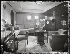 S.S. Normandie, Stateroom #150 with bed up, Cabin Class, ca. 1935
