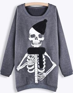 Grey Long Sleeve Skull Print Sweatshirt, so cute and it looks comfy Skull Fashion, Dark Fashion, Sweater Weather, Style Japonais, Mein Style, Skull Print, Printed Sweatshirts, Alternative Fashion, Swagg