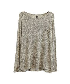 ARJOSA Womens Baggy Batwing Long Sleeve Pullovers Sweater Jumper M 1 Ash Grey -- Continue to the product at the image link.