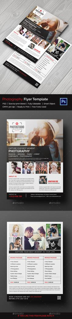 Photography Flyer Features :  - size: A4  - Front & Back Setup  - Resolution: 300 dpi  - Color mode: CMYK  - Bleed: 3 mm  - 2 Psd & 1 Help file Included  - Photos from the preview are NOT included.