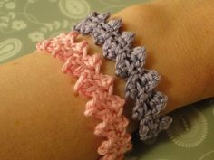 Crochet Side Stitch Pink and purple crochet bracelets worn side by side make a fun combo. This is called the button braid;and the pattern is free! Crochet Jewelry Patterns, Crochet Accessories, Bracelet Patterns, Tunisian Crochet, Irish Crochet, Crochet Stitches, Crochet Bracelet, Bead Crochet, Free Crochet