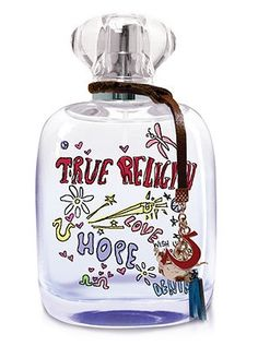 True Religion-Love, Hope, Denim-my new favorite perfume! It's top notes are fruits and caramel; middle notes are almond and brown sugar; base notes are Madagascar vanilla and musk.