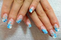 Blue and White flowers nail design