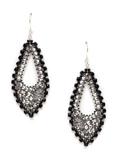Black & Silver Marquise Earrings by Miguel Ases on Gilt.com