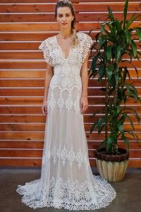 Charming A-line Straps Sweep/Brush Train Tulle Fabric Boho Wedding Dress with Lace Style WD610109006ZY