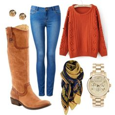 """Thanksgiving"" by arcoavenue on Polyvore. The perfect outfit for a casual Thanksgiving with the fam! Get these Frye boots and a great selection of scarves at Arco Avenue!"