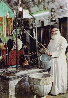 New Martyr Archimandrite Philoumenos (Hasapis) of Jacob's Well, was the Igumen of the Greek Orthodox monastery of Jacob's Well, West Bank. 1979,he was assigned as the guardian of the Monastery of Jacob's Well... local Jewish settlers had been coming to pray there & demanded that Christian symbols be gone ...Philoumenos was hacked to death with axes by Jewish Zionist settlers, while serving Vespers on 11/ 29/1979.... Philoumenos eyes were gouged out & the fingers of his right hand were hacked… Orthodox Prayers, Orthodox Christianity, Christian Symbols, Christian Faith, Jacobs Well, Prayer Corner, Byzantine Icons, Heaven Sent, Catholic Saints