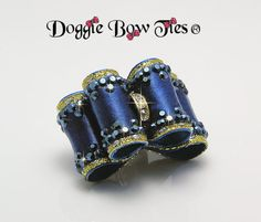 Dog Bows~Crystal Fabulous Fakes Show Dog Bows collection features deep teal satin embellished with matching Swarovski elements metallic blue crystal edging.