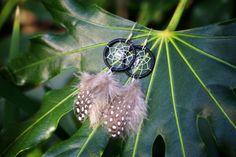 Black Polka Dot Dream Catcher Earrings by nZuriArtDesigns on Etsy