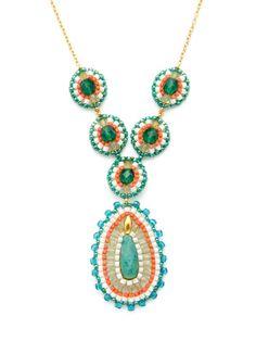 Miguel Ases  Coral & Amazonite Drop Necklace