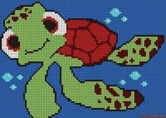Alpha friendship bracelet pattern added by squirt turtle finding nemo ocean bubbles. Fuse Bead Patterns, Perler Patterns, Loom Patterns, Beading Patterns, Cross Stitch Patterns, Melting Beads, Alpha Patterns, Tapestry Crochet, Knitting Charts
