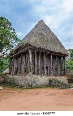 Wood and bamboo temple called Achum at traditional Fon's palace in Bafut, Cameroon, Africa - Stock Photo