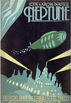 Retro Sci-Fi Neptune Travel Poster 13x19 by IndelibleInkWorkshop