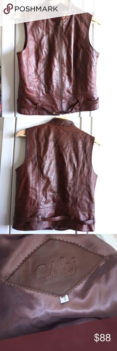 """Genuine Leather Vest Gorgeous genuine leather vest by Cabi. Armpit to armpit 17.5"""", or 35"""" bust, 19.5"""" in length. Zips in front. #7041701 CAbi Jackets & Coats Vests"""