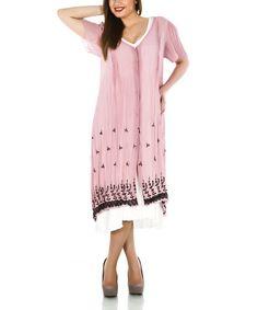 Look at this #zulilyfind! Pink Floral V-Neck Button-Up Dress - Plus #zulilyfinds