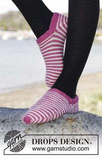 "Knitted DROPS slippers in garter st with stripes in ""Nepal"". Size 35 - 42 ~ DROPS Design"