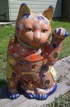 Japanese Kutani Moriage Maneki Neko - Lucky Cat Statue | #695671490