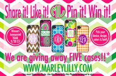 Enter to win a free personalized cell phone case for any device from Marley Lilly! It's as easy as 1, 2, 3!