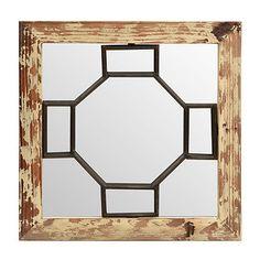 Cream Geometric Mirrored Plaque