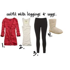 outfit with leggings & uggs. by haileylovesyouux on Polyvore