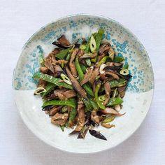 Nancy Singleton Hachisu's miso-fried aubergine and green pepper.