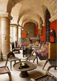 Arabian Outdoor Living Room | Exotic Cushions, Low Tables