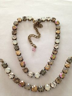 Swarovski Crystal Necklace browns, neutrals, topaz, opals not sabika but just as beautiful