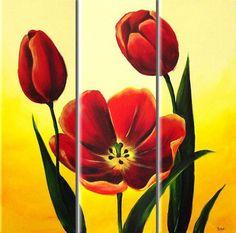 diamond painting flowers Tulips Triptych diamond embroidery diy diamond painting cross stitch picture of rhinestones mosaic kit Acrylic Flowers, Oil Painting Flowers, Flower Paintings, 3 Piece Art, Still Life Oil Painting, Pallet Painting, Flower Oil, Art Plastique, Creative Art